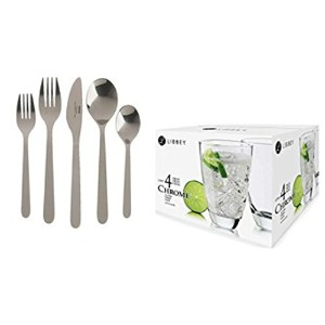 IKEA Dinnerwareバンドルfeaturing 1 IKEA Flatware Set and 1 Libbey 4 Piece Clear Drinkingメガネセット