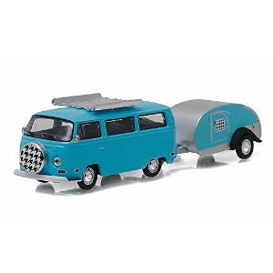 """GREENLIGHT 1:64SCALE HITCH&TOW SERIES8 """"1972 VOLKSWAGEN TYPE2 AND TEARDROP TRAILER""""(BLUE) グリーンライト 1..."""