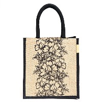 Jute lunch bag SizeSize: 11x9x6 inches )