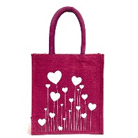 Printed jute bag Size: 11x9x6 inches