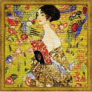 RIOLISクロスステッチ刺繍キット No.1226 「Lady with a Fan」 after Gustav Klimt's Painting (扇と夫人 グスタフ・クリムト) 【取り寄せ...