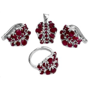 Faceted Ruby Pendant with Earrings and Ring Set - Sterling Silver Ring Size 8.5