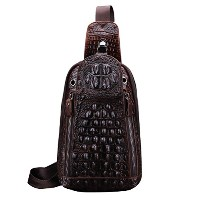 Zhhlaixing チェストバッグ Men's Cowhide Leather Crocodile Pattern Shoulder Chest Bag Backpack Travel Sling...