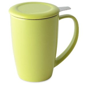 FORLIFE Curve Tall Tea Mug with Infuser and Lid 15 ounces, Lime by FORLIFE