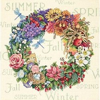 "Gold Collection Wreath Of All Seasons Counted Cross Stitch K-14""X14"" 18 Count (並行輸入品)"
