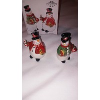 Fitz and Floyd Sugar Coatedクリスマス雪だるまSalt and Pepper Shakers