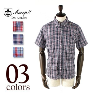 SWEEP!! PIN OX CHECK S/S BUTTON-DOWN SHIRT スウィープ!! ピンオックス チェック ボタンダウンシャツ (3colors)【返品交換不可】special...
