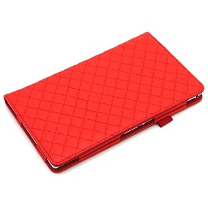 Thursday《液晶保護フィルム付》【レッド】Xperia Z3 Tablet Compact ( SGP611JP / SGP612JP ) 手帳型 キルティング PU レザー ケース...