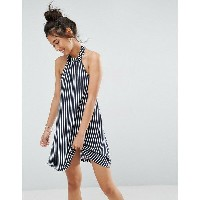 エイソス レディース ワンピース トップス ASOS Halter Swing Sundress In Stripe Navy/white stripe