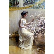 油絵 Francis Coates Jones_ 花と乙女