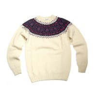 【期間限定30%OFF!】INVERALLAN(インバーアラン)/#113021 NORDICK FAIRISLE YOKE SHETLAND SWEATER/cream