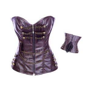 Brown Leather Maroon boned Corset with Brass Buttons and Chains sexy party club goth punk lingerie