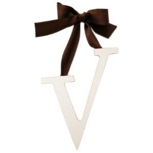 New Arrivals Wooden Letter V with Solid Brown Ribbon, Cream by New Arrivals