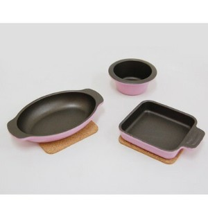 UMIC assiette(アシット) toaster & oven cookware 3点セットコルクマット付 ローズピンク