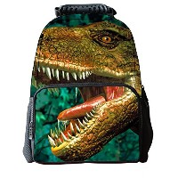 Lawlait Kids Animal Face Print Cute School Backpack (green dinosaur)