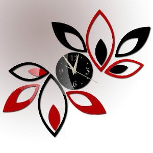 Toprate Mirror Wall Clock, Red and Black Rhombus Leaves Sticker Decoration by Toprate ?