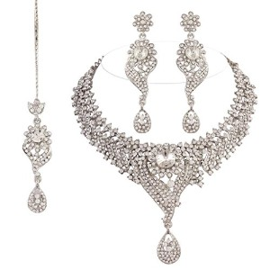 I JewelsレディースTraditional RodiumメッキカクテルJewellery Set With Maang Tikkaホワイト