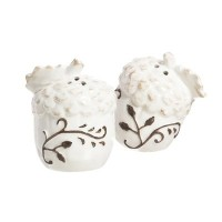 CypressホームセラミックホワイトAcorn Salt and Pepper Shaker Set
