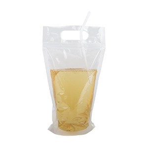 (価格/ 50個)Aspire 16oz Reclosableジッパーstand-up DrinkバッグW /ハンドル、FDA準拠 One size ER0022_CLEARWITHSTRAWS