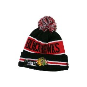 NEW ERA POM KNIT CAP (NHL/Chicago Blackhawks-4/800: Black×Red)ニューエラ/ニットキャップ/黒×赤
