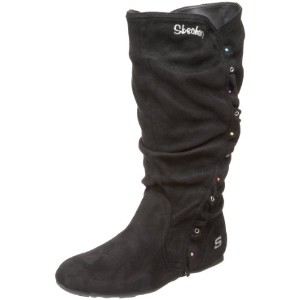 SKECHERS(スケッチャーズ) Tini Ruffle and Studs Slouch Boot 87998L BLK (Black Microfiber/18.0)