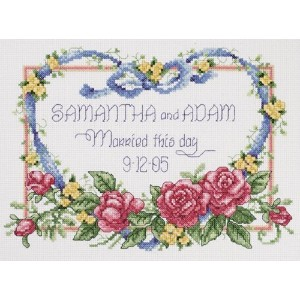 "Janlynn クロスステッチ 刺繍キット""青いリボン""ウェディングボードむけ  Janlynn Cross Stitch Kit, 8-Inch by 10-Inch, Married This..."