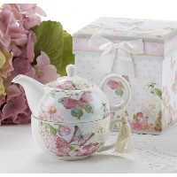 Delton製品Porcelain Tea for One with装飾ギフトボックス、バタフライ