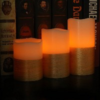 Youngerbaby 3セットアイボリーRealワックスLED Candle Flameless Candle電池式LEDピラーキャンドル、キャンドルを明るいの結婚、屋内装飾用