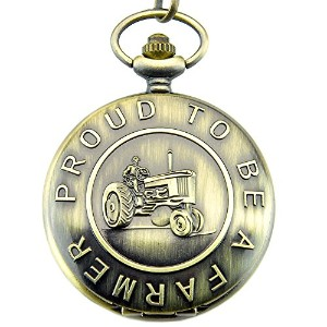 Engraved Proud to be a Farmer Men 's Quartz Pocket Watchウエストチェーンwithギフトボックス