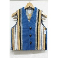 ORTEGA'S (オルテガ)CHIMAYO VEST LADIES STRIPED(SIZE : XS)(COLOR : BLUE)【05P03Sep16】