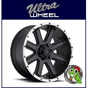 【新品アルミホイール単品1本価格】17インチ【ULTRA WHEEL Type-195 Crusher】17×8.0J 8/165.1+19【SatinBlack w/DiamondCut Lip】【...