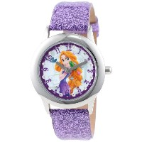 Disney ディズニー 塔の上のラプンツェル キッズ腕時計 Kids' W000409 Tween Rapunzel Stainless Steel and Purple Glitter Strap Watch