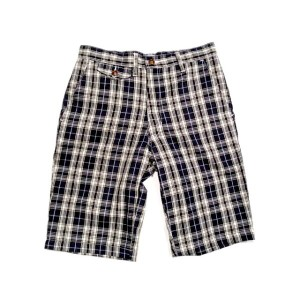 【期間限定30%OFF!】POST OVERALLS(ポストオーバーオールズ)/#1374SW MENPOLINI SHORTS2W/BLUE PLAID/blue x white
