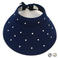 High Spirits Ladies Swarovski Navy Rinestones/Pearls Visors【ゴルフ レディース>サンバイザー】