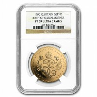 Great Britain 1990 Gold 5 Pounds Queen Mother PF-69 UCAM NGC