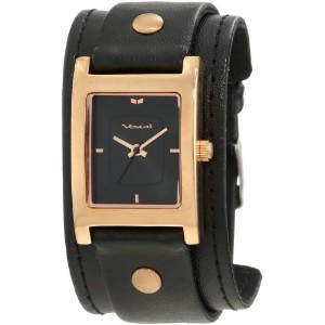 ベスタル 時計 レディース 腕時計 Vestal Women's EA026 Electra Rosegold Black Leather Cuff Watch