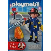 プレイモービル 5796 消防士 Playmobil Fire Chief # 5796 with Hydrant , Barrel with Flames 18 pc