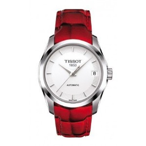 ティソ 腕時計 レディース 時計 Tissot T-Trend Couturier White Dial Red Leather Ladies Watch T0352071601101