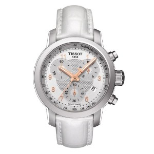 ティソ 腕時計 レディース 時計 Tissot PRC 200 Quartz Chronograph Lady Leather - White Women's watch #T055.217.16...