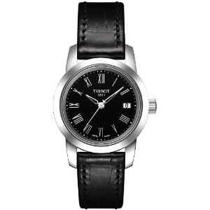 ティソ 腕時計 レディース 時計 Tissot Classic Dream Black Dial Black Leather Ladies Watch T0332101605300