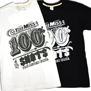 【You Miss 100% of the SHOTS YOU NEVER TAKE】おもしろメッセージ プリント 半袖 Tシャツ 半袖 メンズ レディース ☆プリント 半袖 ロック Tシャツ...