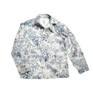 【期間限定50%OFF!】POST OVERALLS(ポストオーバーオールズ)/#1102XX BREEZY PRINT ENGINEER'S JACKET/blue