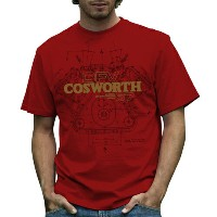Cosworth DFV Mens T-shirt Red レトロ F1 Tシャツ
