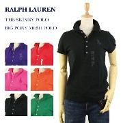 "Ralph Lauren Lady's ""SKINNY FIT"" BIG PONY Solid Color Mesh Polo Shirts USラルフローレン レディース 無地ポロシャツ..."