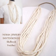 "【INDIAN JEWELRY】インディアンジュエリー Santodomingo""Mary Coriz"" White Melo Shell ヒシ ネックレス"