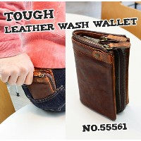 TOUGH LEATHER WASH 55561 Brown 《二つ折り財布/縦型》 Wallet Collection メンズ コインケース [ レザーウォレット ] 【ギフト】【プレゼント】...
