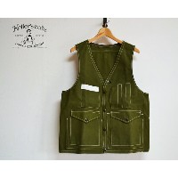 HELLER'S CAFE ヘラーズカフェ 1940's Bag-pocket Hunting Vest GREEN(OR) ベスト