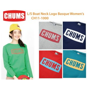 【CHUMS チャムス】CH11-1000<L/S Boat Neck Logo Basque Women's - 長袖ボートネックロゴバスク>※取り寄せ品