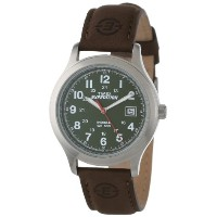 Timex タイメックス メンズ腕時計 Men's T40051 Expedition Metal Field Olive Dial Brown Leather Strap Watch