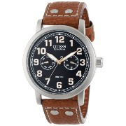 """Citizen シチズン メンズ 腕時計 Men's AO9030-05E Eco-Drive """"Avion"""" Brown Leather and Stainless Steel Watch"""
